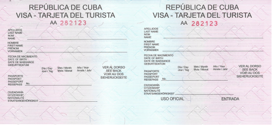 Tourist/Visa Card